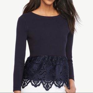 Ann Taylor Navy Botanical Lace Peplum Sweater